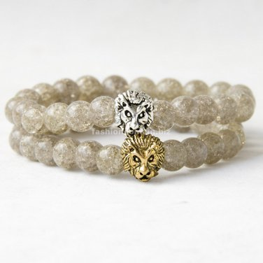 Buy Mens Gold Silver Plated Lion Head Bracelet, Natural Gray Crystal Beaded Bracelet Women Jewelry