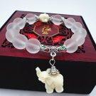 Buy Natural Matte White Crystal Bracelets for Women Fashion 12MM Beaded Super Sweet Elephant Penden