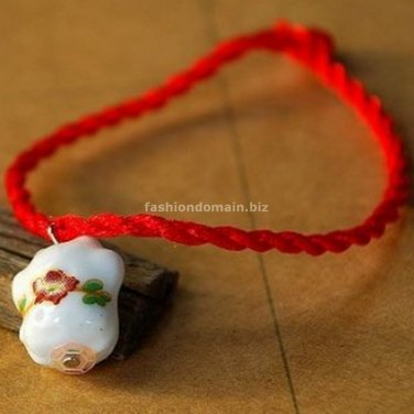 Buy New! ! Wholesale Tibetan China Wind Red line Porcelain beads Weave Bracelets Women Gift Handmad