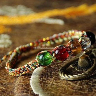Buy New! ! Wholesale Tibetan Color Gold Line Crystal Bead Weave Bracelets Women Gift Handmade Origi