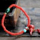 Buy New! Wholesale Tibetan Natural Red Coral Bead Gourd Cyanosis Bluestone Bracelets Women Gift Han