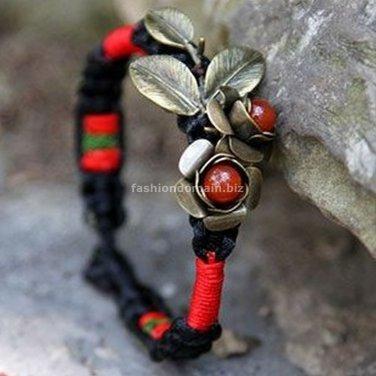 Buy Wholesale Tibetan Handmade Fashion Charm Women Bracelets Retro Copper Flowers Silk Agate Weave