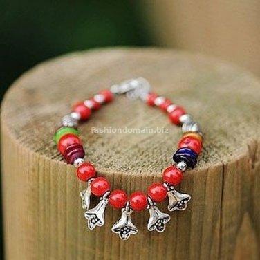 Buy Wholesale Tibetan Jewelery Coral beads Tibetan silver Flowers Shell Color Joker Shambhala Brace