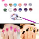 12Bottles Acrylic Nail Glitter Powder Holographic Dotting Pen Brush Nail UV Gel Polishing Rhineston