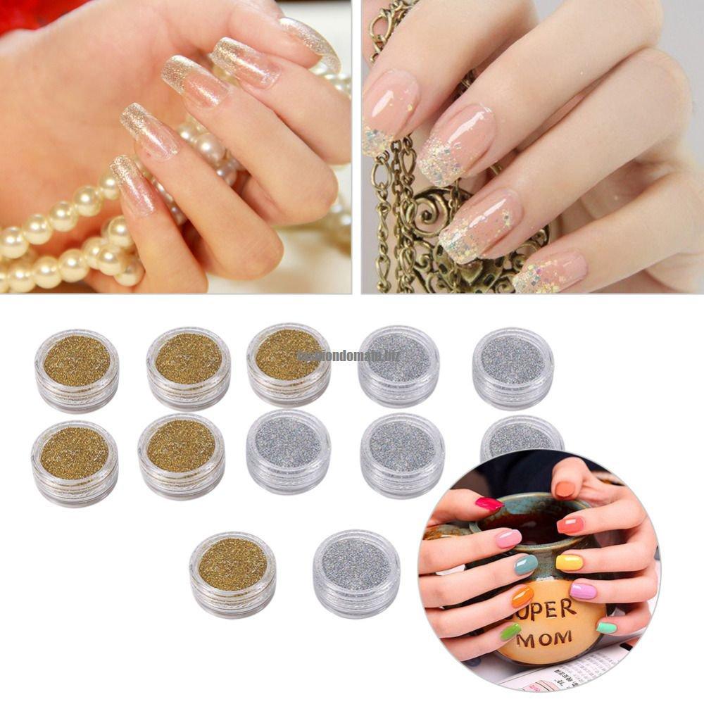Clearance 12 Pcs Silver Gold Nail Art Glitter Powder Dust Manicure Decorations Nail Gel Polishing D
