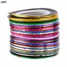 30Pcs Mixed Colors Rolls Striping Tape Line DIY Nail Art Tips Decoration Sticker Tools Beauty Decor