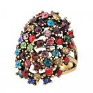 Retro Jewelry Color Crystal Ring Size 10 Rings For Women Gold Color Filled Stretch Fashion Rings Ca