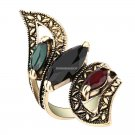 Fashion  Vintage Big Ring Antique Gold Color Mosaic Colorful Resin Rings For Women Size 6 7 8 9 10