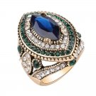 Luxury Vintage Jewelry Big  Wedding Rings For Women Gold Color Mosaic Green Crystal   Fashion Acces
