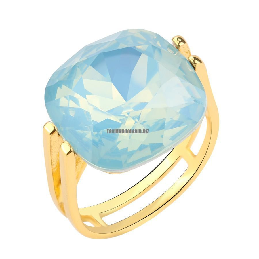 Fashion Square Blue Opal Stone Wedding Rings For Women Gold Color CZ Zircon Ring Female OL Vintage