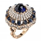 Hot Luxury Big Natural Stone Ring Vintage Crystal Antique Rings For Women Gold Color Party Christma
