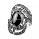 Unique Vintage Fashion Black Rings For Women  Tibet Silver Alloy Antique Oval Angel Wings Ring
