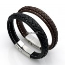 Top Quality Genuine Leather Bracelet Men Stainless Steel Leather Braid Bracelet With Magnetic Buckl