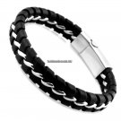 Unique Designer 316L Stainless Steel Bracelets  Bangles Mens Gift Black Leather Knitted Magnetic Cl