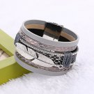 Hot Sale Alloy Feather Leaves Wide Multilayer Magnetic Bracelet Leather bracelets bangles For Wome