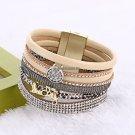 Fashion Women Fashion Rhinestone Magnetic Leather Bracelets  Bangles Bohemian Handmade Lucky Brace