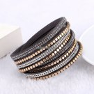 Fashion Jewelry Crystal Bracelets bangles For women  Rhinestone  Leather Bracelet Crystal Braclets
