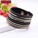 HYHONEY Bracelets bangles Rhinestone Leather Bracelet Crystal bracelets for women Fashion Jewelry p