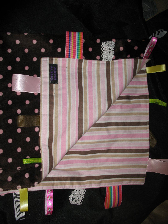 Stripes and Minky Crib size Taggie Blankie