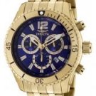 Invicta Men's II Chronograph Blue Dial 18k Gold Plated Stainless Stee