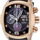 Invicta Men's Lupah Automatic Chronograph Diamond 18k Rose Gold Plated Case Black Leather