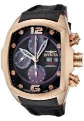 Invicta Men's Lupah Automatic Chronograph Diamond 18k Rose Gold Plated Case Black Leather