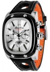 Glam Rock Gulfstream Chronograph Silver Dial Black/Orange Nappa Leather