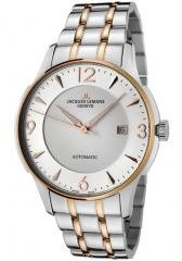 JACQUES LEMANS Men's Geneve Automatic Silver Dial Two Tone Stainless Steel