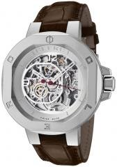 Clerc Men's Icon 8 Automatic See Thru Skeleton/Silver Dial Brown Genuine Crocodile
