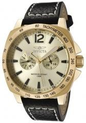 Invicta Men's II Gold Dial Black Leather