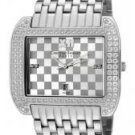 Christian Bernard Women's Intimate White Crystal Silver/Grey Grid Textured Dial Stainless Steel
