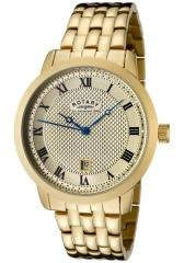 Rotary Men's Champagne Textured Dial Gold Ion Plated Stainless Steel
