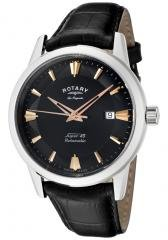 Rotary Men's Les Originales Black Dial Black Leather