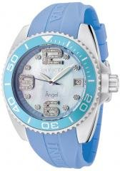 Invicta Women's Angel Crystals Blue MOP Light Blue Polyurethane