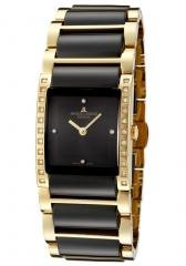 JACQUES LEMANS Women's Geneve Black Dial Gold Tone Stainless Steel& Black Ceramic