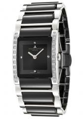 JACQUES LEMANS Women's Geneve/Gloria Diamond Black Ceramic & Stainless Steel