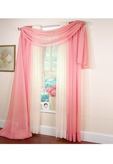 Beaded Voile Rose Scarf Valance 40 X 288