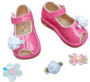 SQUEAKER SNEAKERS Hot Pink Peep Toe Clippy