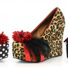 Bettie Page Leopard Wedges size 8