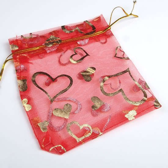 100 Red Heart Organza gift bags