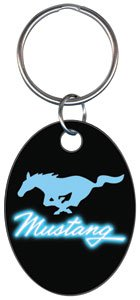 Key Chains: FORD- Neon Blue Mustang Key Chain