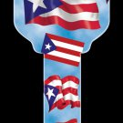 Key Blanks: Key Blank HK22 - Puerto Rican Flag- Schlage