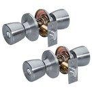 Door Handle Set: Master Lock Model No. TUO0115T Tulip Style; Satin Nickel; 2 Pack