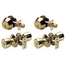 Door Handle Set: Master Lock Model No. TUCO0603T Tulip Style Knob Combo Pack; Polished Brass