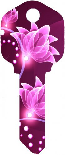Key Blanks:Model:-PINK FLOWER Key Blanks - Kwikset