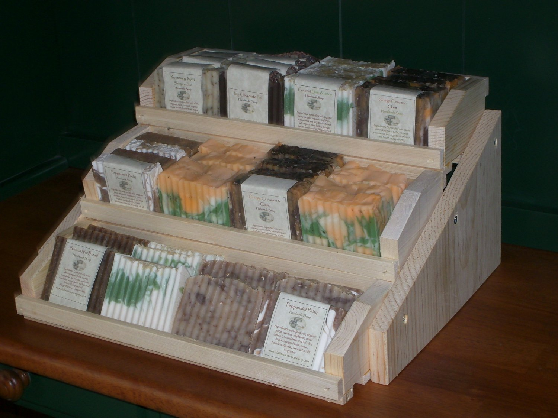 three teir wooden handmade soap display holds 36 bars