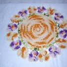 Pansy edged doily Irish hand-crochet vintage hc1022