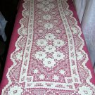 Antique knotted lace table runner 42 inches long hc1027