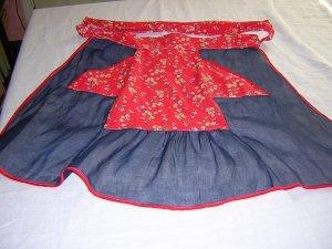 Vintage organdy and  cotton hostess apron 1930s-40s vintage hc1064