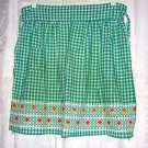 Embroidered gingham half apron rick-rack and yarn trim Vintage hc1065